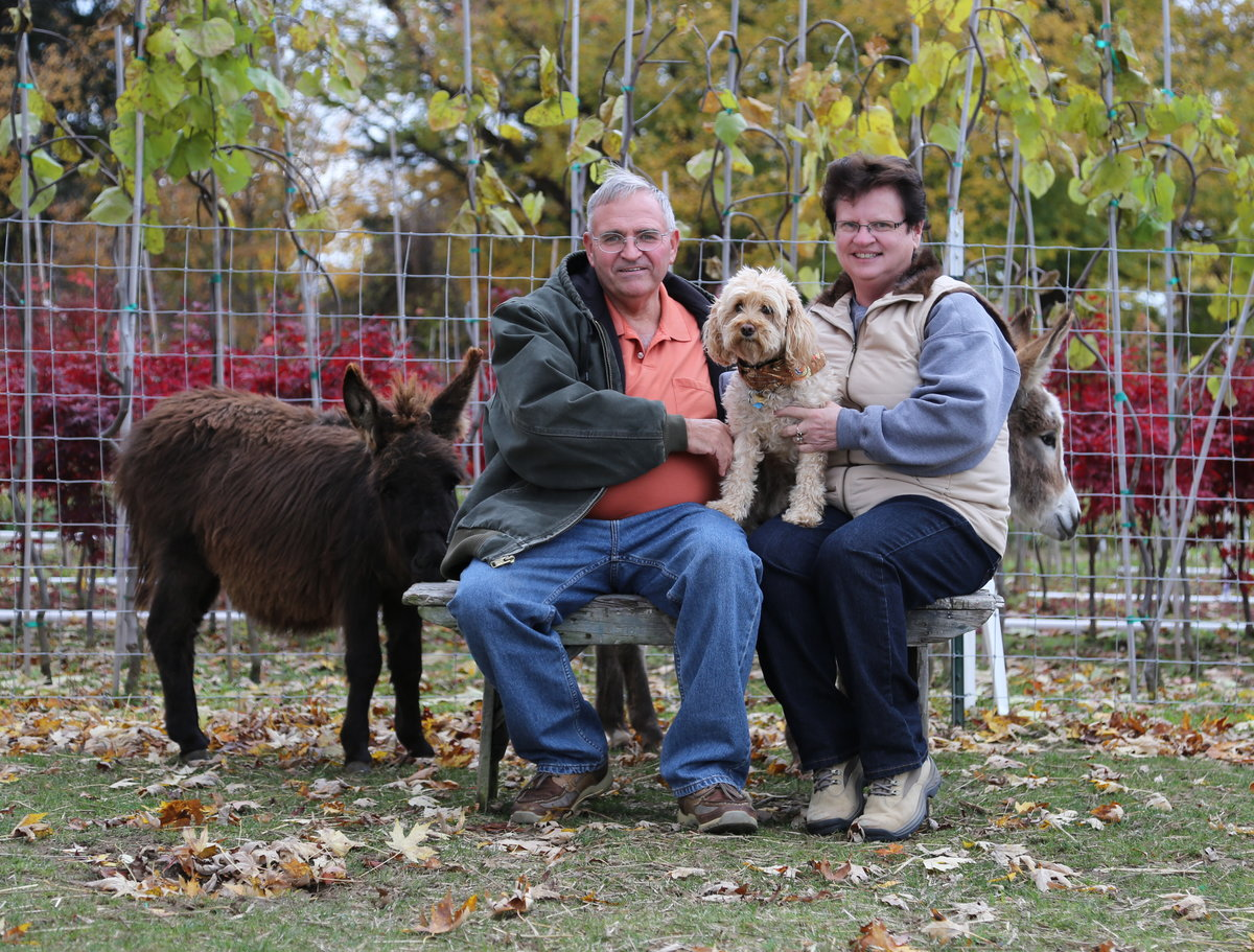 Mike and Pam with the donkeys and the little yellow dog.