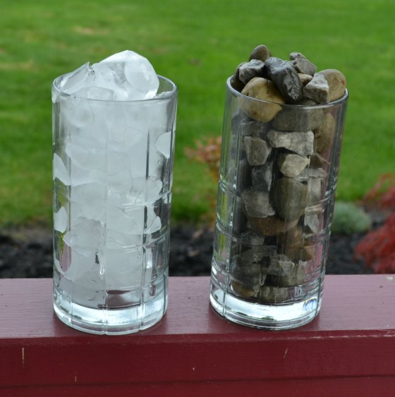 Comparing Washed Stone to Ice Cubes in a Glass